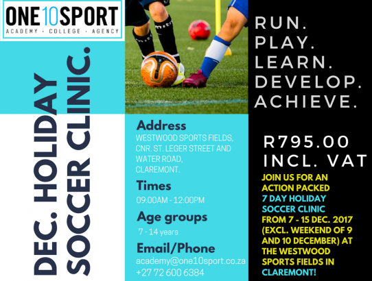 December Holiday Soccer Clinic in Cape Town (Claremont, Southern Suburbs)