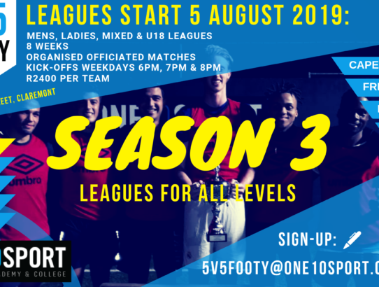 Team Registration Open: Season 3, ONE10SPORT Five-a-side Leagues, Claremont, Cape Town.